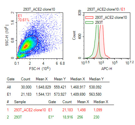 S protein to detect ACE2-Flag